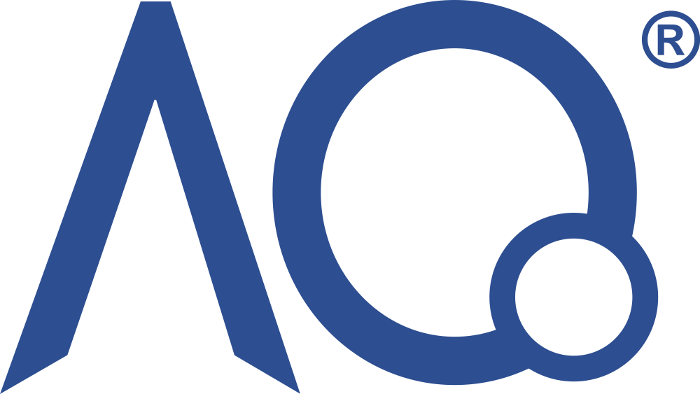 AQ Logo 3 with registered trademark, blue