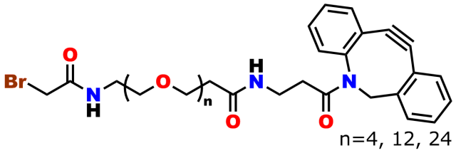 This image represents a bromoacetamido-dPEG®n-DBCO product group. The bromoacetyl group is connected via an amide bond to a dPEG®-acid moiety with 4, 12, or 24 ethylene oxide units in the chain. The acid terminus of the dPEG® moiety is amide-bonded to a dibenzylcyclooctyne (DBCO) group that is used for copper-free click chemistry, known by the acronym SPAAC.
