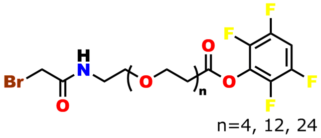 This image shows the chemical representation of bromoacetamido-dPEG®n-TFP ester. The bromoacetyl moiety is connected via an amide bond to the TFP ester of a dPEG® acid. The dPEG® moiety may be 4, 12, or 24 ethylene oxide groups long.