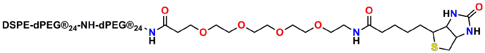 Abbreviated chemical structure of PN11386, Biotin-dPEG®4-amido-dPEG®24-amido-dPEG®24-DSPE. This is one of Quanta BioDesign's DSPE dPEG® derivatives used in liposomes and micelles.