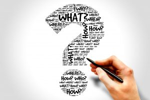 "A question mark filled with interrogative words including ""what?"", ""how?"", ""when?"", ""why?"" and ""where?"" The question mark symbolizes the theme of this page, which is ""What is dPEG®?"""