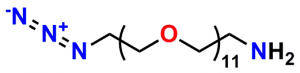 Quanta BioDesign's product number 10524, azido-dPEG®11-amine, is a click chemistry crosslinking compound. This reagent contains an azide group and a primary amine on opposite ends of a single molecular weight PEG linker (molecular weight of 570.67 Daltons; linker length of 36 atoms, ≈42.7 Å).