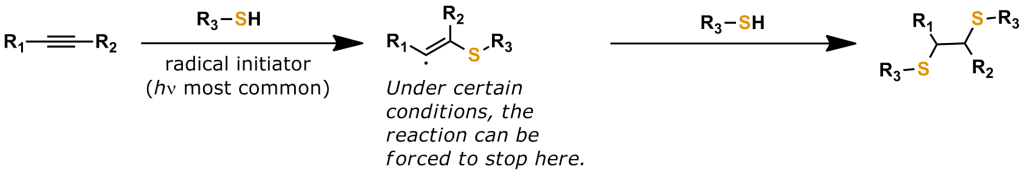 Figure 15: The reaction between an alkyne and a thiol is known as the Thiol-Yne Reaction. This type of click chemistry can add one or two thiols across an alkyne bond. This reaction frequently uses a radical initiator (most often light), but the reaction can also proceed under mild conditions that do not require a radical initiator. The Thiol-Yne reaction has been used in bioconjugation reactions, for example, to bridge disulfide bonds in proteins.