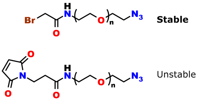 Figure 2: Stability of Bromoacetyl-azide. In the upper half of the image, a bromoacetamido-dPEG®-azide is shown. This molecule is stable. In the bottom half of the image a maleimido-dPEG®-azide is shown. This molecular construct is not stable, because maleimides react with azides.