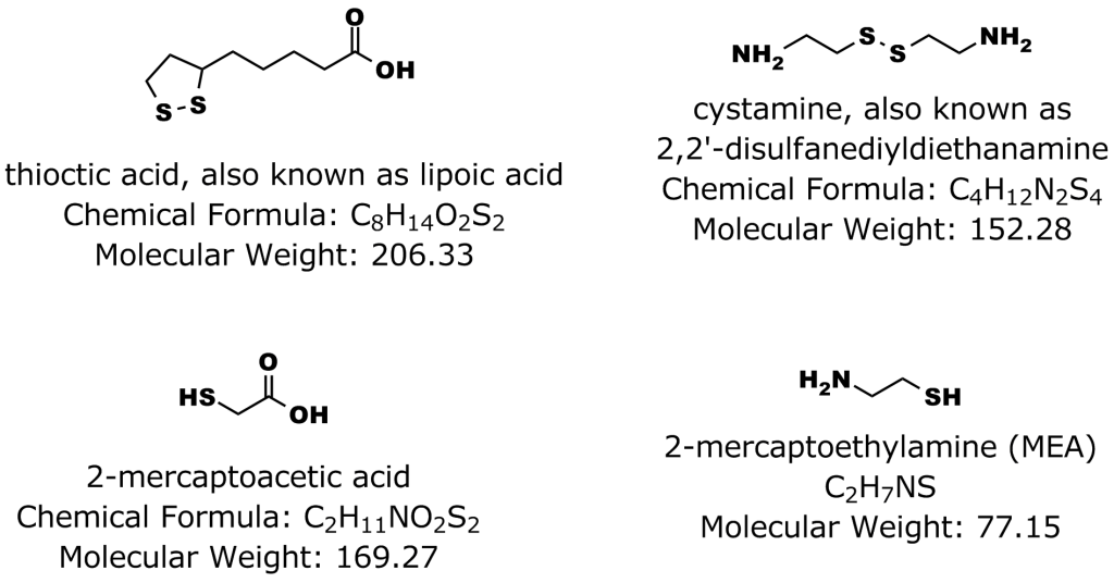 Figure 2: Commonly used sulfur-containing compounds used for attachment to gold surfaces such as quantum dots.