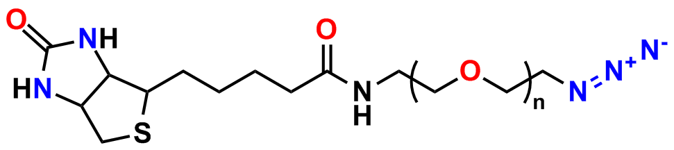 Figure 23: Biotin-dPEG®n-azide for click chemistry biotinylation. Quanta BioDesign also offers a Biotin-dPEG®12-DBCO reagent (not shown).