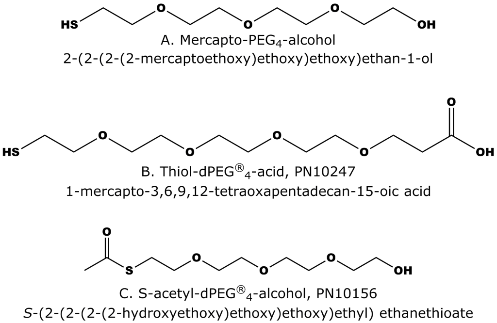 Compounds used for surface protection studies. A. Thiol-PEG4-alcohol. B. Thiol-dPEG®4-acid (Quanta BioDesign PN10247). C. S-acetyl-thiol-dPEG®4-alcohol, which was not used in the study but is the S-acetyl-protected version of 3a. 3c is Quanta BioDesign product number 10156.