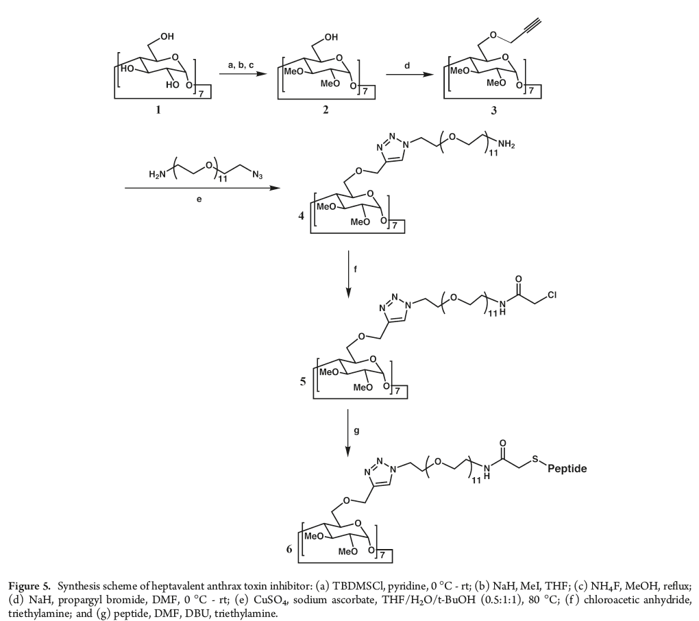 Figure 5: The reaction scheme used to develop a heptavalent anthrax toxin inhibitor. See the text for details and a discussion. See also reference 12, below.