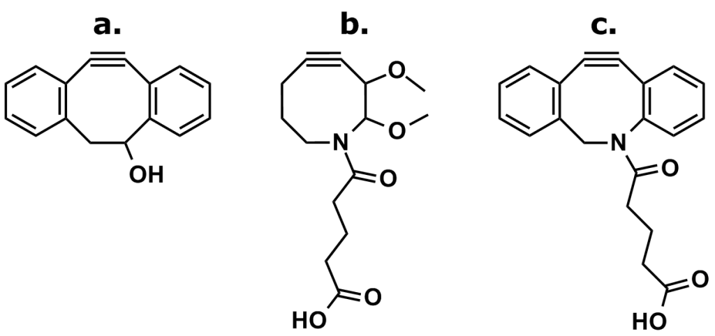 Figure 8: The Development of DIBAC (also known as DBCO). Debets et al. sought to combine the fast reaction kinetics of DIBC (compound a.) with the water solubility of DIMAC (compound b.) by synthesizing DIBAC (compound c.), also known as DBCO. DIBAC/DBCO has proven to be quite useful and reasonably stable in bioconjugation applications that employ strain-promoted azide-alkyne cycloaddition (SPAAC) reactions.
