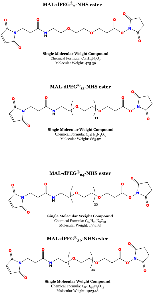 Chemical structures of the MAL-dPEG®n-NHS-ester linkers used to construct the extracellular drug conjugates used in this study.