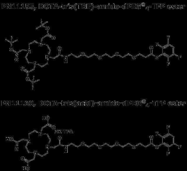 Figure 1: Comparison of PN11155, DOTA-tris(TBE)-amido-dPEG®4-TFP ester, with PN11160, DOTA-tris(acid)-amido-dPEG®4-TFP ester