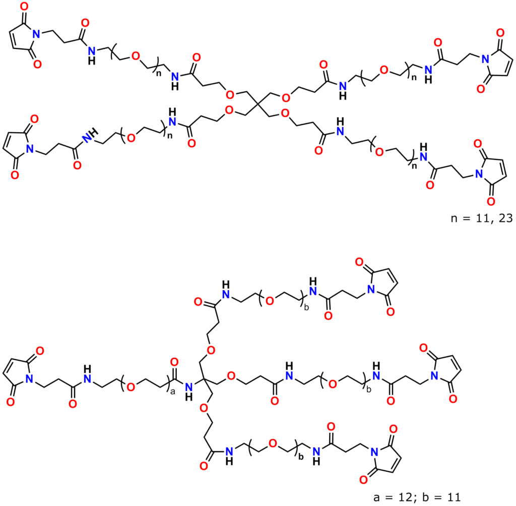 Figure 10 displays the structures of Quanta BioDesign's homotetrafunctional maleimide crosslinker products. Pentaerythritol forms the core of the top structure, while the bottom structure uses a tris core.
