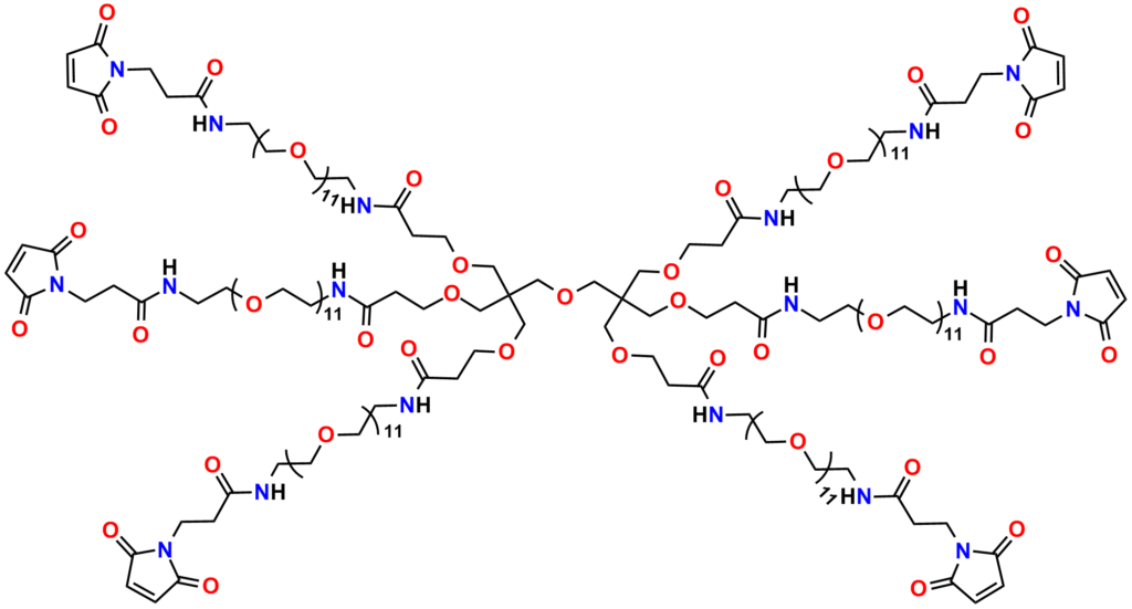 Figure 11: Structure of Quanta BioDesign's homohexafunctional maleimide crosslinker, PN11436, Hexa(-amido-dPEG®11-MAL)dipentaerythritol, which is based on a dipentaerythritol core.