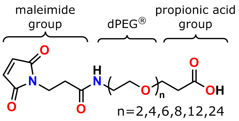 Figure 1 shows the general structure of Quanta BioDesign's MAL-dPEG®n-acid maleimide crosslinker products.