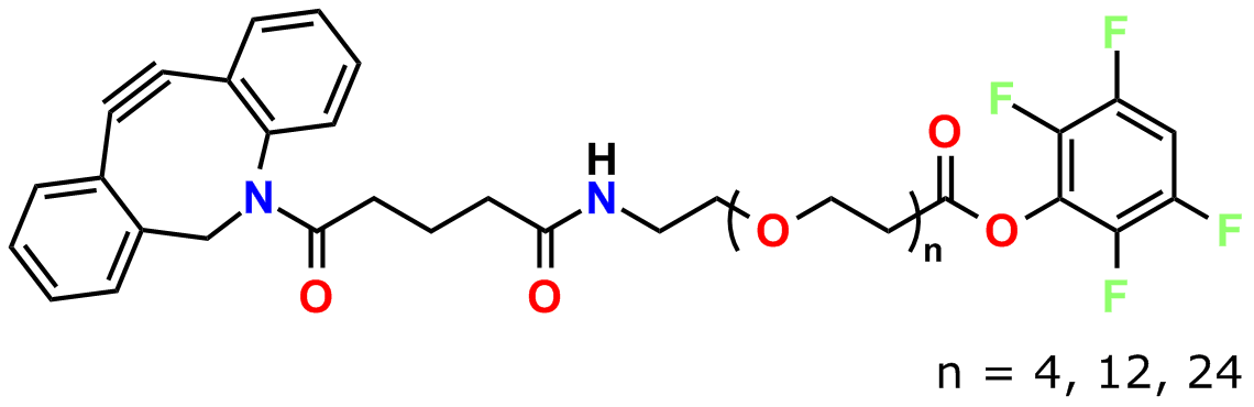Figure 2: General chemical structure of Quanta BioDesign's DBCO-dPEG® TFP ester products for crosslinking azides and amines.