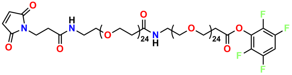 Figure 5 shows the structure of PN11303, MAL-dPEG®24-amido-dPEG®24-TFP ester. This maleimide crosslinker has a very long discrete PEG linker between a malemide group on one end and a tetrafluorophenyl ester on the other end. The linker length is equal to PEG48.