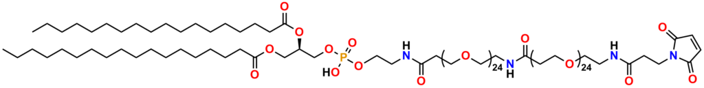 Figure 6 presents the structure of PN11093, MAL-dPEG®24-amido-dPEG®24-DSPE. This product exemplifies an application of PN11303 by conjugating PN11303 to the lipid known as 1,2-Distearoylphosphatidylethanolamine (DSPE) to create a product that can be used in lipids and micelles. Please see the text for details.