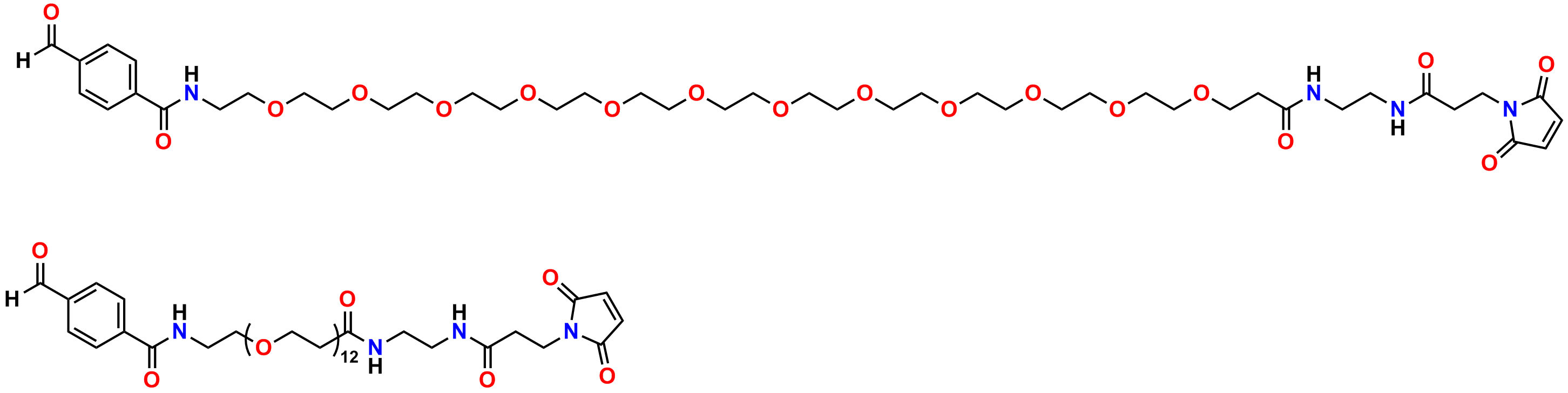 Figure 7 shows the full-length (top) and abbreviated (bottom) structure of PN10075, 4-formyl-benzamido-dPEG®12-EDA-MAL. This maleimide crosslinker product reacts with amines to form imines (Schiff bases), hydrazides to form hydrazones, and aminooxy compounds to form oxime bonds. Please see the text for details.