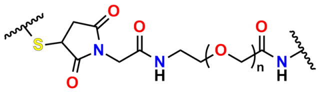 General scheme of a maleimide-dPEG® crosslinker linking a thiol to an amine across a discrete PEG (dPEG®) backbone. White background. Colorized atoms. See the post text for details.
