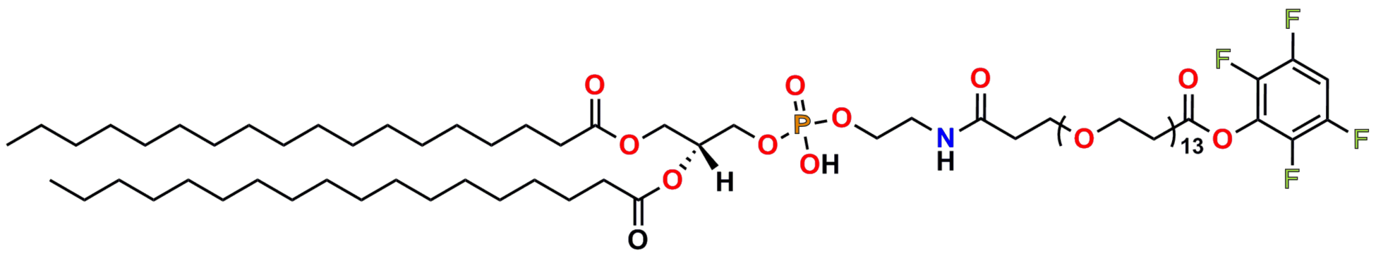 This image shows the chemical structure of PN11029, TFP-dPEG®13-DSPE. Captions above the different sections show the locations of the fatty acid (stearic acid) tail, the glyceryl phosphatidylethanolamine group, the dPEG®13 spacer, and the amine-reactive tetrafluorophenyl ester. The oxygen, phosphorous, nitrogen, and fluorine atoms are color coded according to the CPK standards.