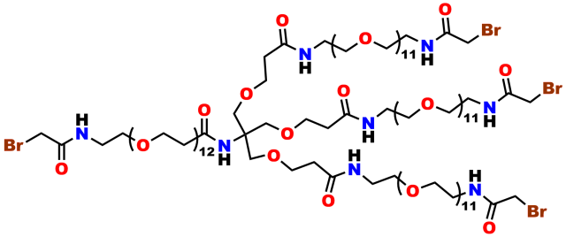 This image shows the chemical structure of the 4-armed dPEG® product number 11434, which contains a bromoacetyl moiety at the end of each arm. It is used for cross-linking free thiol groups.