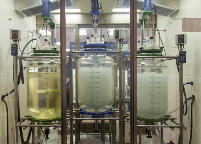 A picture of Quanta BioDesign's three (3) 100 liter reactors for producing dPEG® products at commercial scale.