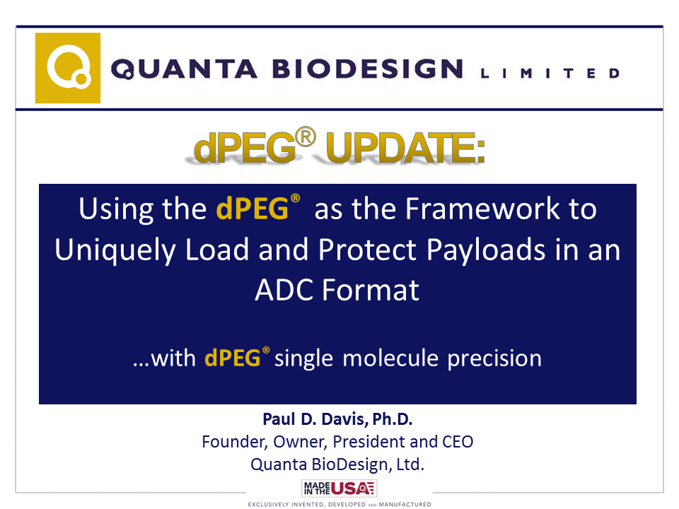 "Title Slide of Paul Davis' talk at the 7th Annual World ADC Summit in San Diego, given October 11, 2016. The talk is titled ""Using the dPEG as the Framework to Uniquely Load and Protect Payloads in an ADC Format with dPEG Single Molecule Precision"""