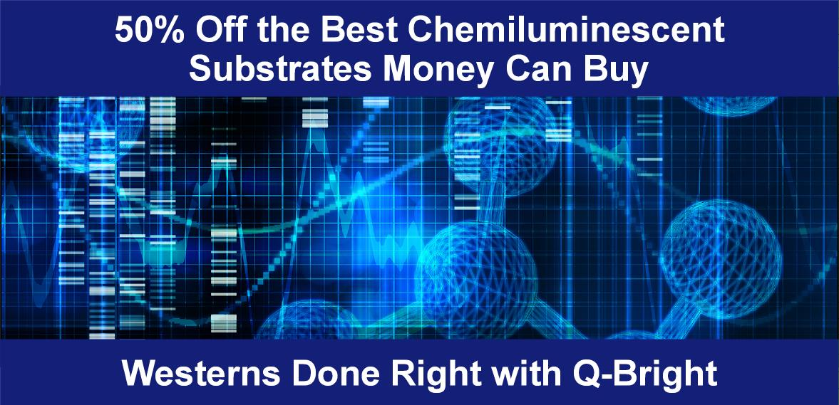 Blue image with western blot and scientific structure with text advertising 50% off the best chemiluminescent substrate kits