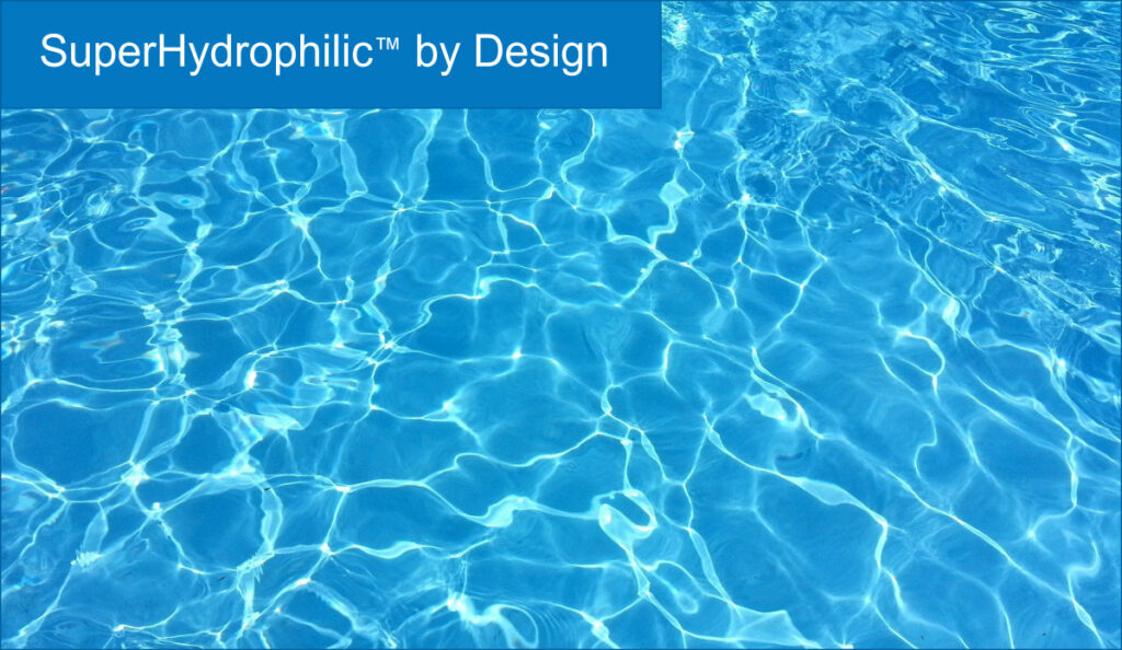 SuperHydrophilic by Design, blue-green water with ripples