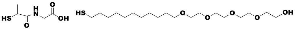 Chemical structures of tiopronin and mercapto-undecyltetraethyleneglycol used in surface protection of gold nanoparticles.