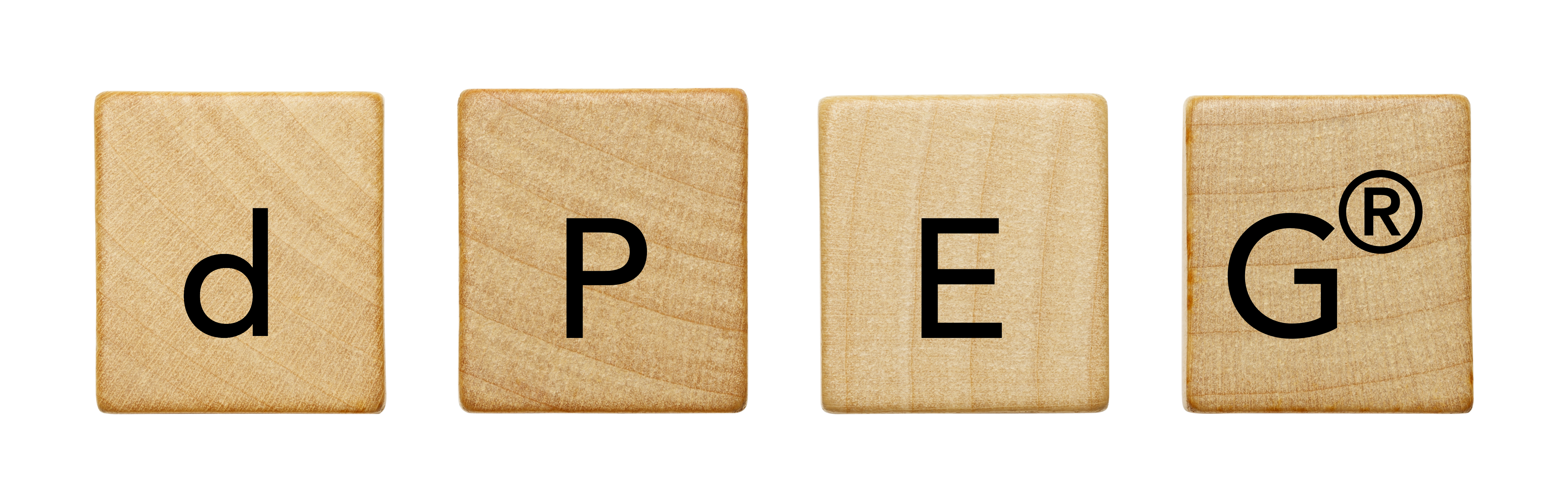 Four (4) wooden tiles with black letters that spell out dPEG®, which is Quanta BioDesign's trademark for single molecular weight polyethylene glycol derivatives. These wooden tiles represent the building blocks that dPEG® products provide in peptide synthesis.