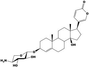 Chemical structure of Scillarenin β-L-aminoxyloside, the cardiac glycoside used in this study as the cytotoxic agent for the extracellular drug conjugates.